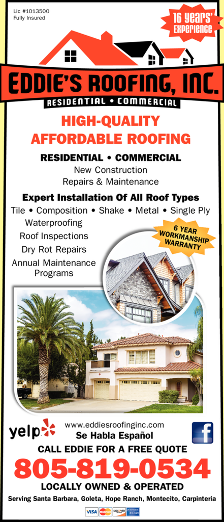 Yellow Pages Ad of Eddie's Roofing Inc