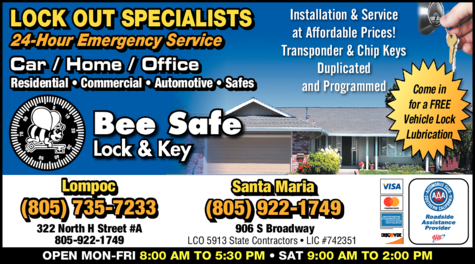 Yellow Pages Ad of Bee Safe Lock & Key