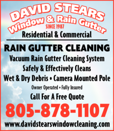 Yellow Pages Ad of David Stears Window & Rain Gutter Cleaning