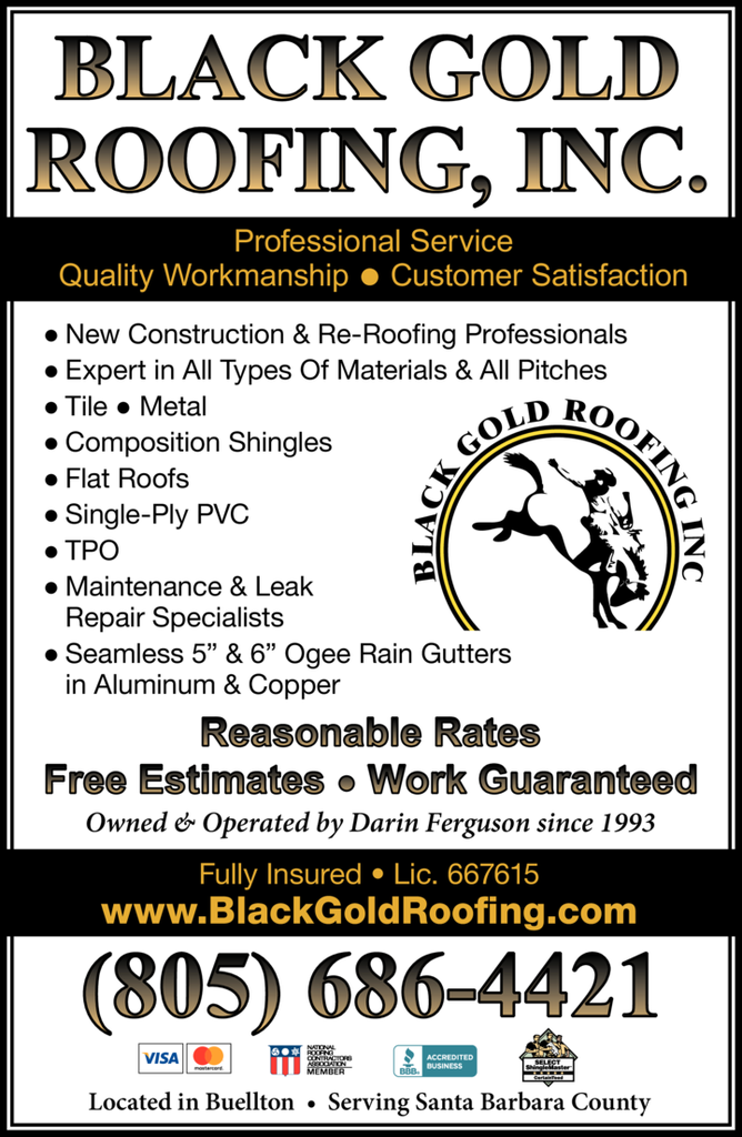 Yellow Pages Ad of Black Gold Roofing Inc