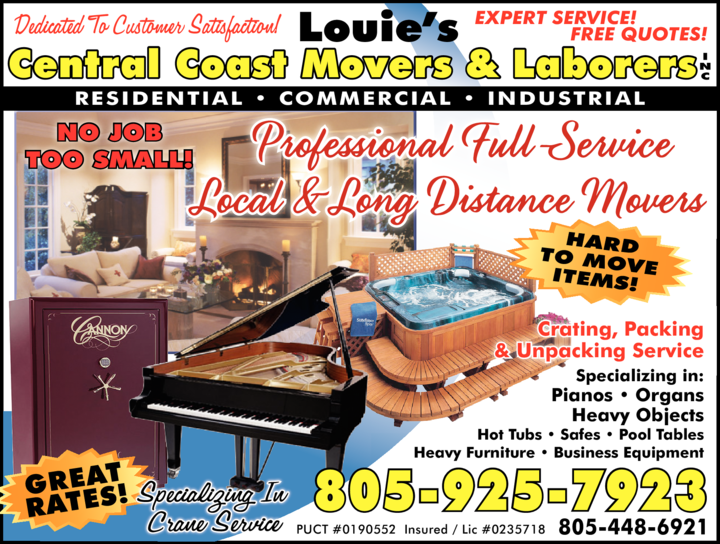 Yellow Pages Ad of Louie's Central Coast Movers & Laborers Inc