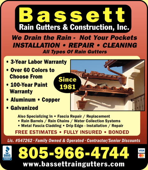 Yellow Pages Ad of Bassett Rain Gutters & Construction Inc