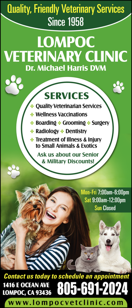 Yellow Pages Ad of Lompoc Veterinary Clinic