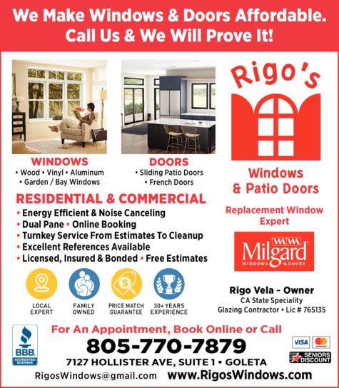 Yellow Pages Ad of Rigo's Windows
