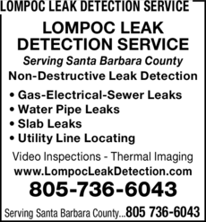 Yellow Pages Ad of Lompoc Leak Detection Service