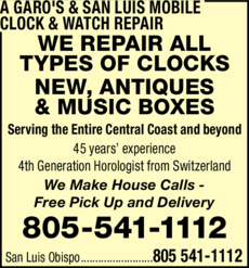 Yellow Pages Ad of A Garo's And San Luis Mobile Clock & Watch Repair