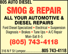 Yellow Pages Ad of 805 Auto Diesel