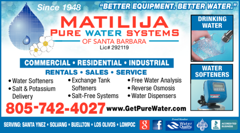 Yellow Pages Ad of Matilija Pure Water Systems