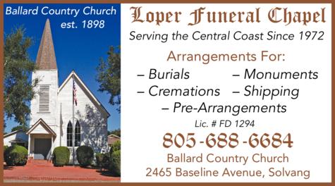 Yellow Pages Ad of Loper Funeral Chapel