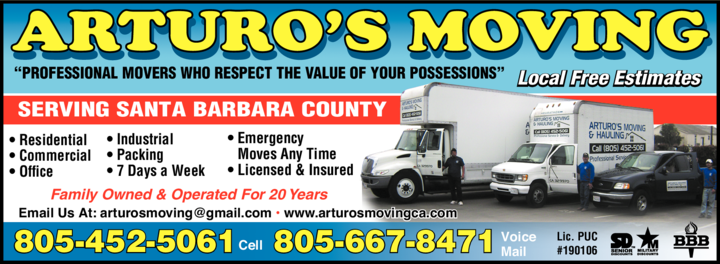 Yellow Pages Ad of Arturo's Moving & Hauling