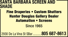 Yellow Pages Ad of Santa Barbara Screen And Shade